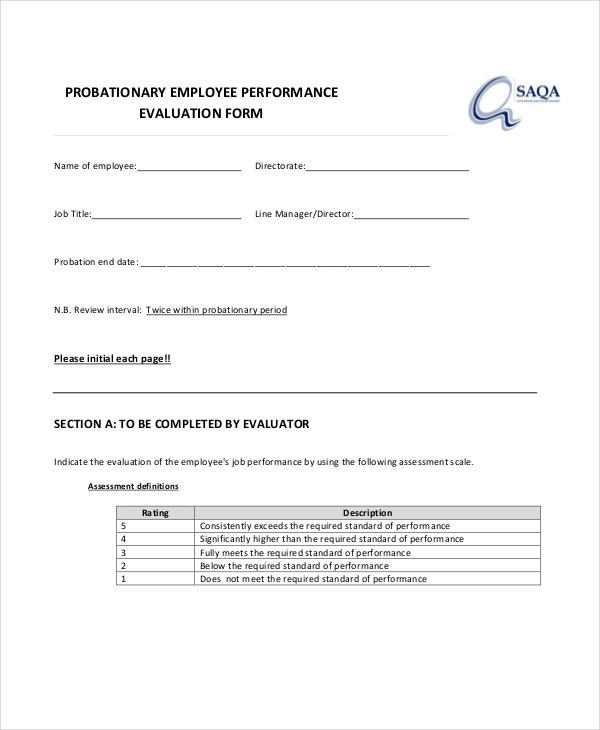 free probationary employee evaluation form