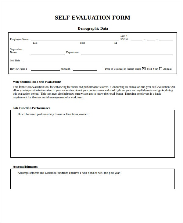 employee self evaluation form template in word