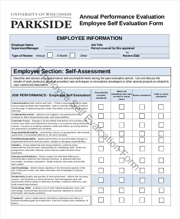 Employee Evaluation Form Example 11 Free Word PDF Documents – Self Performance Review Example