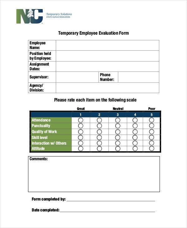 temporary employee evaluation form example