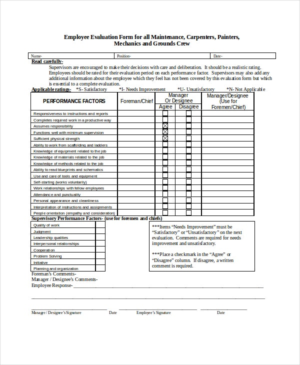 employee evaluation form for maintenance
