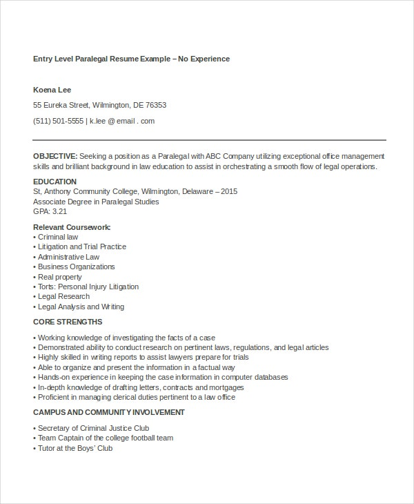 Sample Entry Level Paralegal Resume