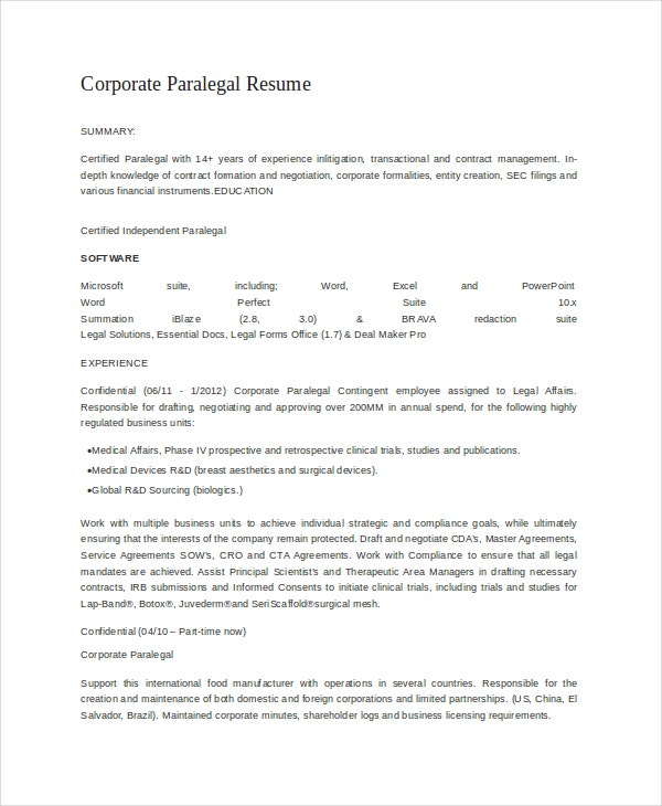 corporate paralegal resume april onthemarch co