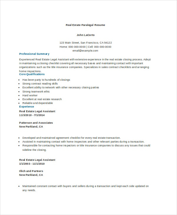 real estate paralegal resume example