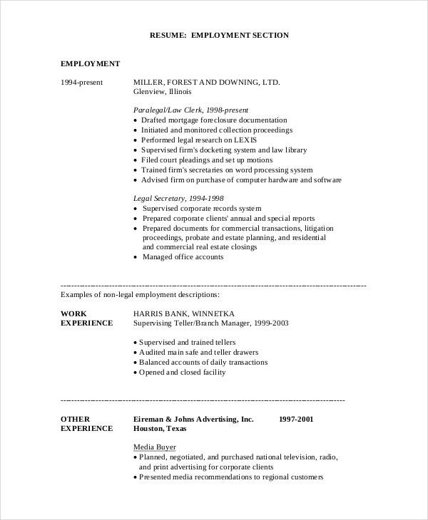9 Paralegal Resumes Free Sample Example Format