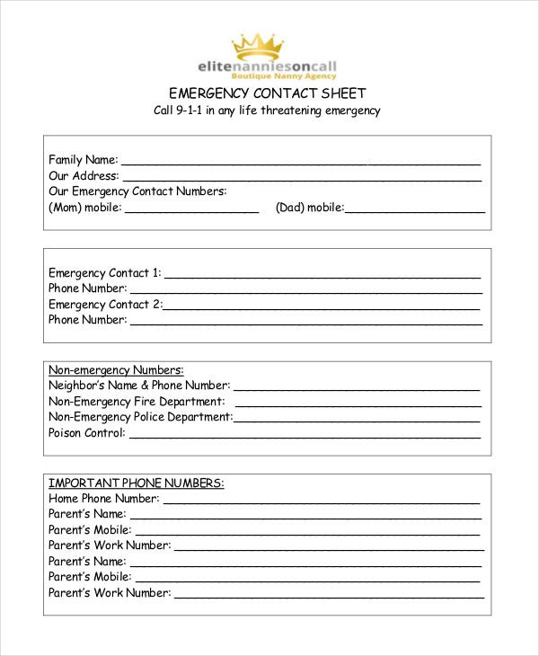 Emergency Contact Sheet For Babysitter  Contact List Templates