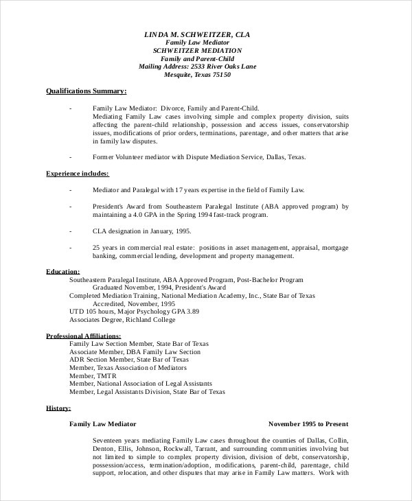 9 paralegal resumes free sample example format free - Example Of Paralegal Resume