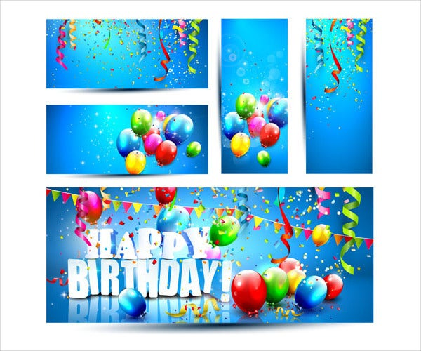 Birthday Banners With Color Balloon