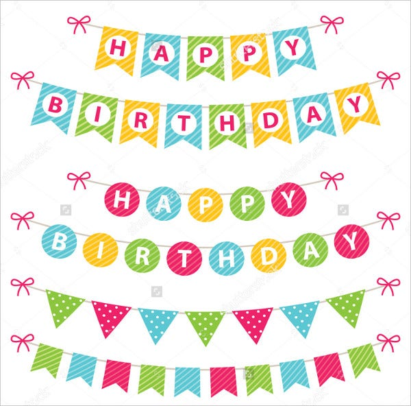 birthday banner vector set