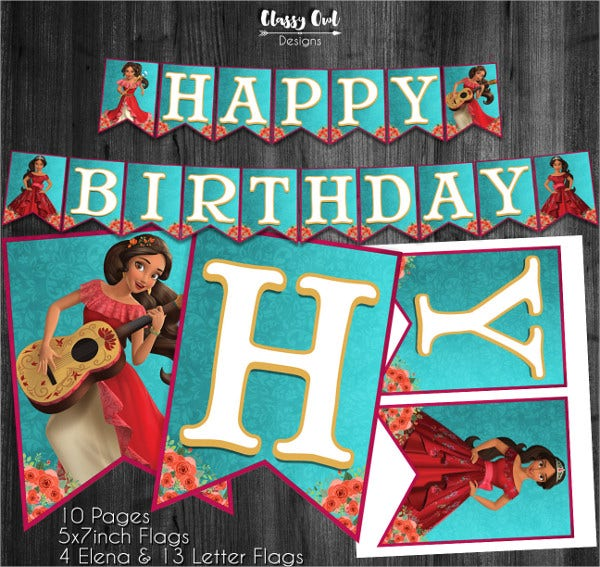 Elena of Avalor Birthday Banner