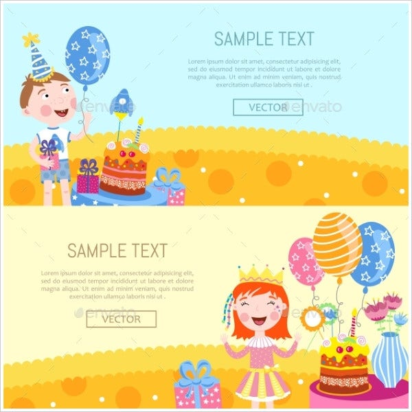 Happy Birthday Banners Vector Illustration