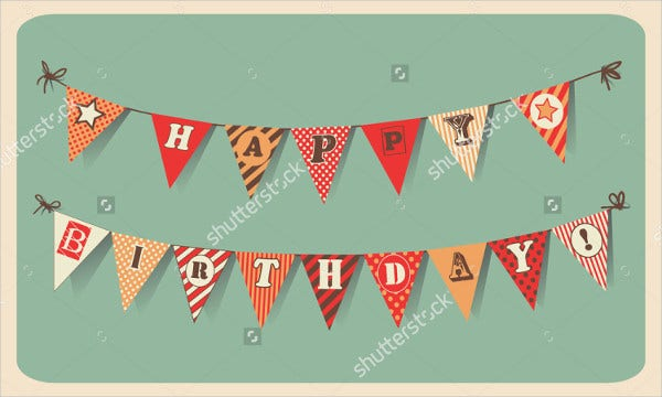 Vintage Happy Birthday Banner