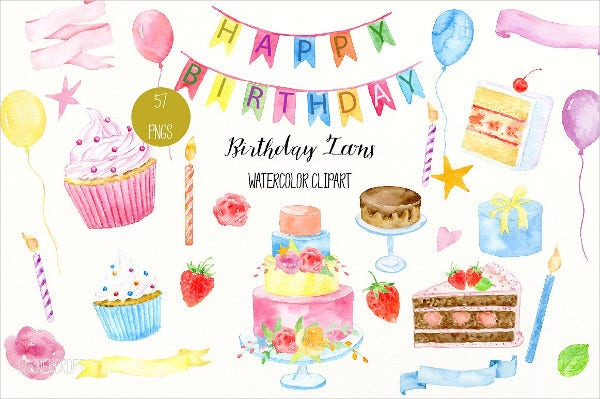 Watercolor Birthday Baner