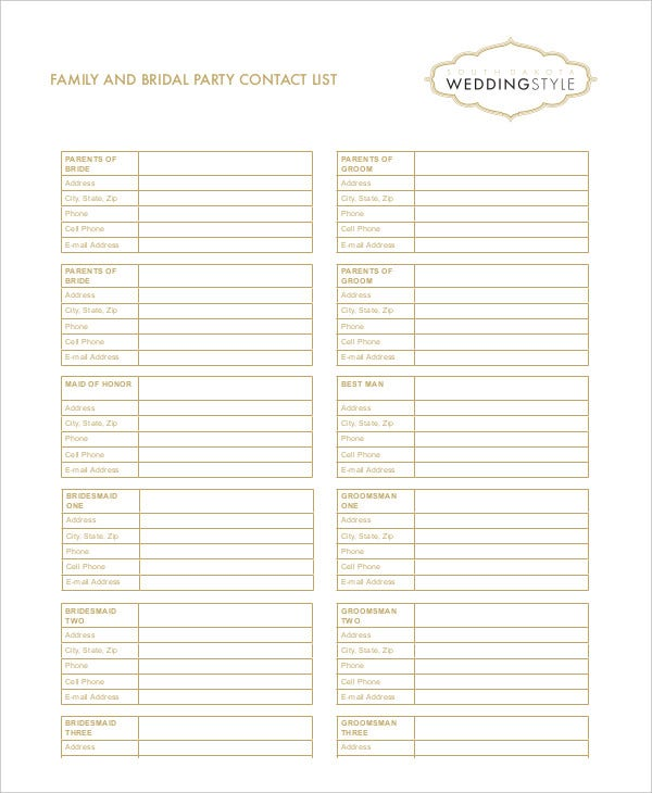 Family And Bridal Party Contact List In Pdf