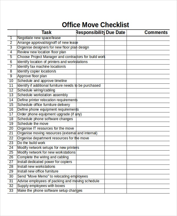 Checklist template 19 free word excel pdf documents for Office relocation checklist template