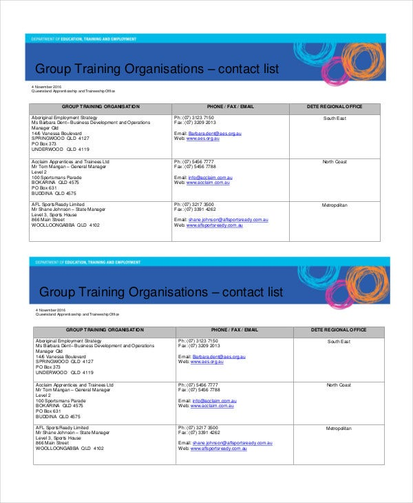 group training organisations contact list