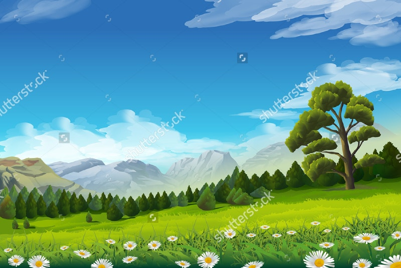 Vector Background Spring Landscape