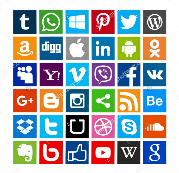 Famous Different Social Media Icon