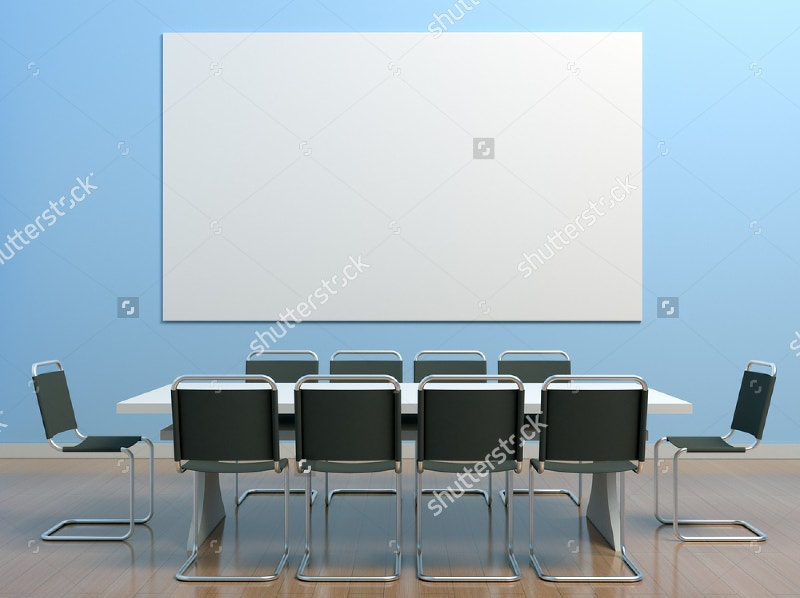 blue meeting room in the office