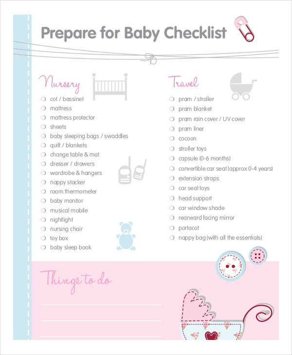 baby checklist template download
