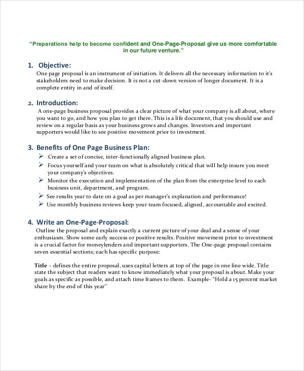 One page proposal template roho4senses one page proposal template flashek