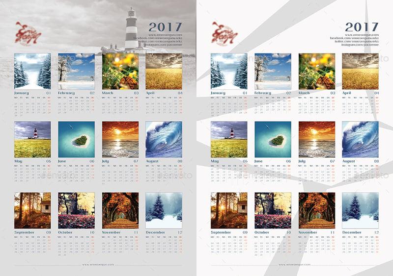 2017 Calendar Minimal Wall Poster