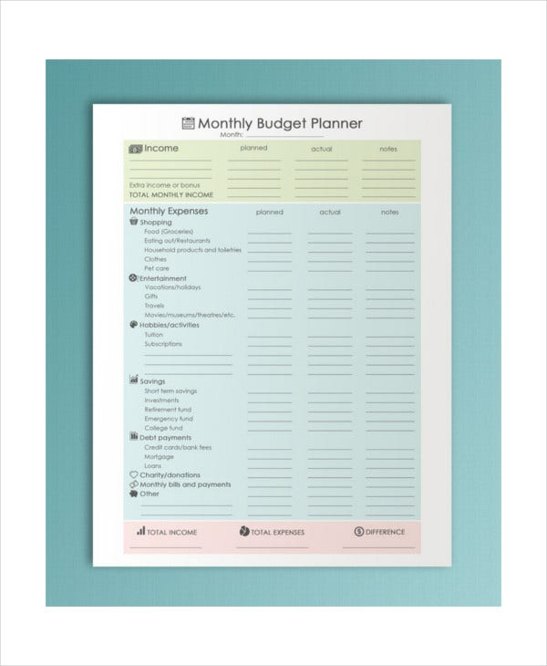 Printable Monthly Budget Template - 11+ Free Excel, Pdf Documents