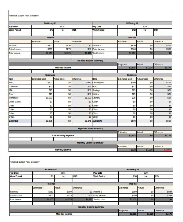 Bi Weekly Budget Template Monthlybudgettemplatefreedownload Jpg