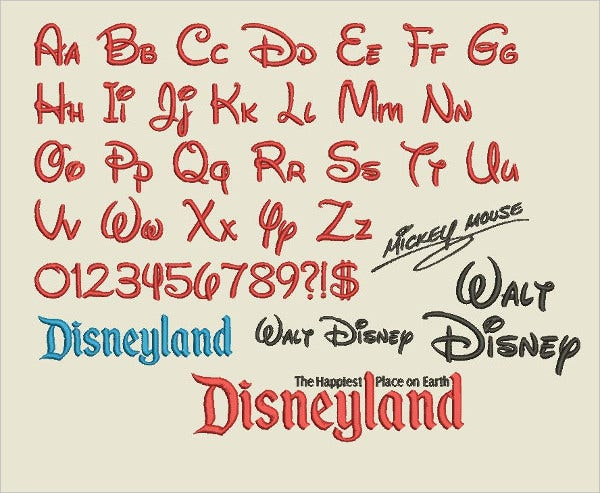 Embroider Walt Disney Font