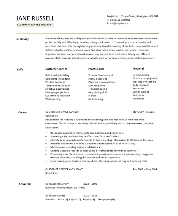 free customer service resume