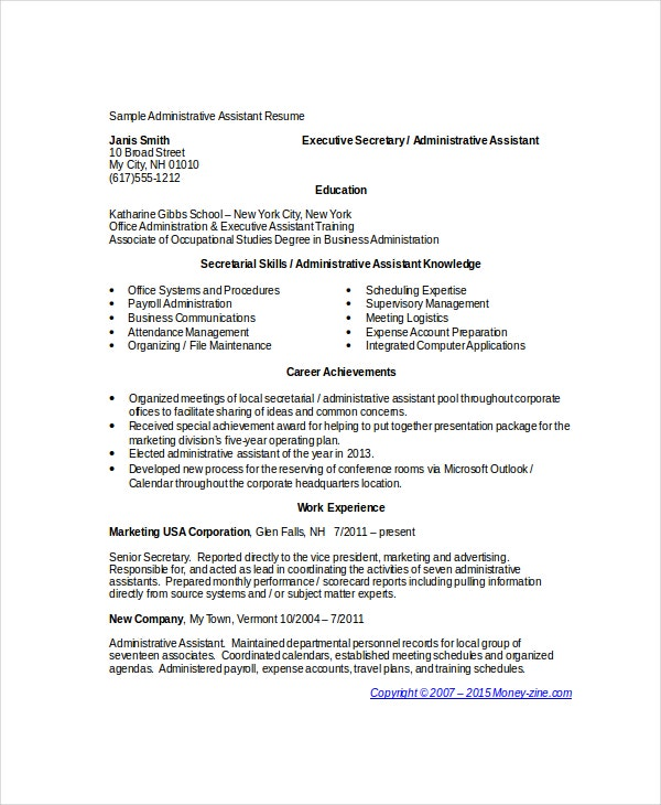 administrative assistant resume template1