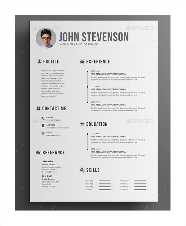 graphic designer resume in psd