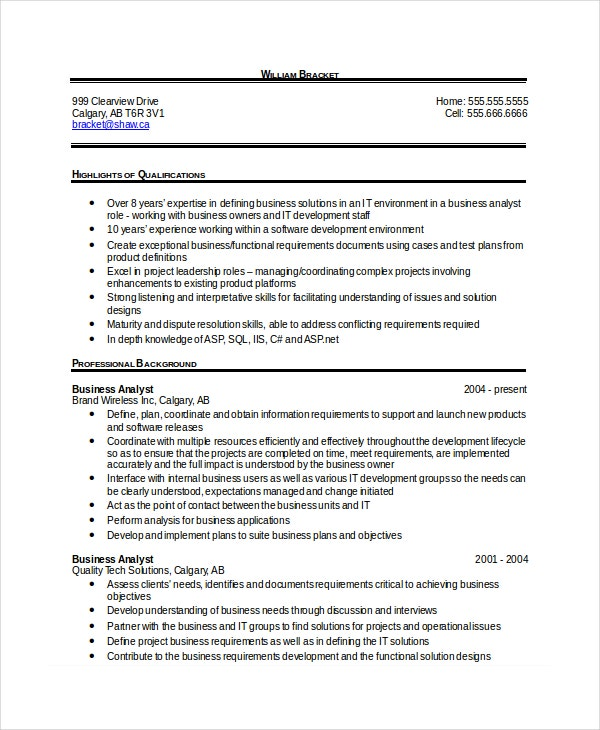 business analyst resume format 28 images sle business