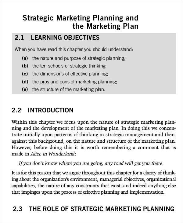 Marketing plan template 20 free word excel pdf ppt for Strategic marketing plan template free download