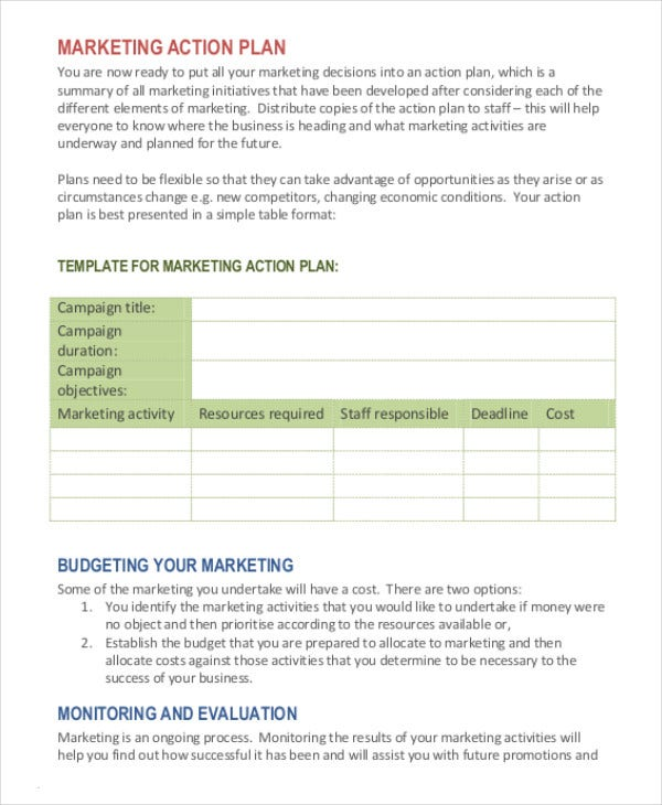 Marketing Plan Template   Free Word Excel Pdf Ppt Documents