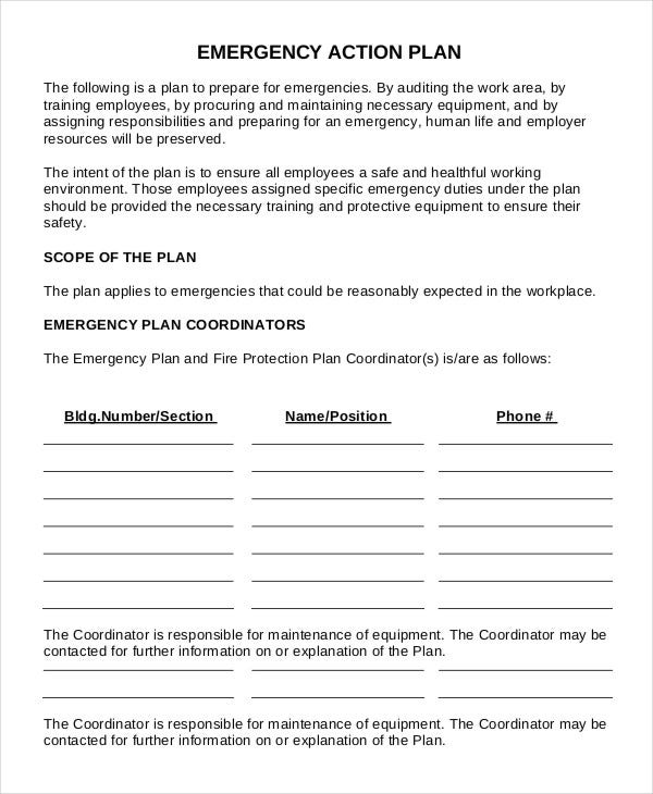 workplace emergency action plan template