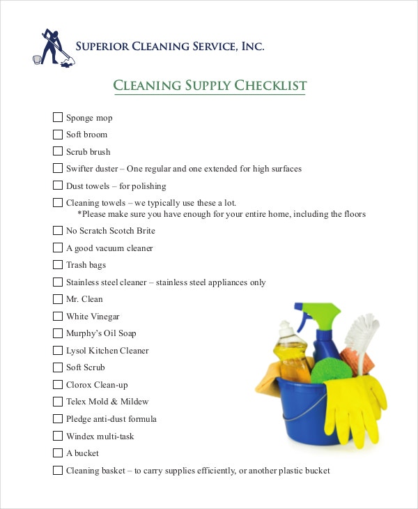 cleaning supply checklist template in pdf