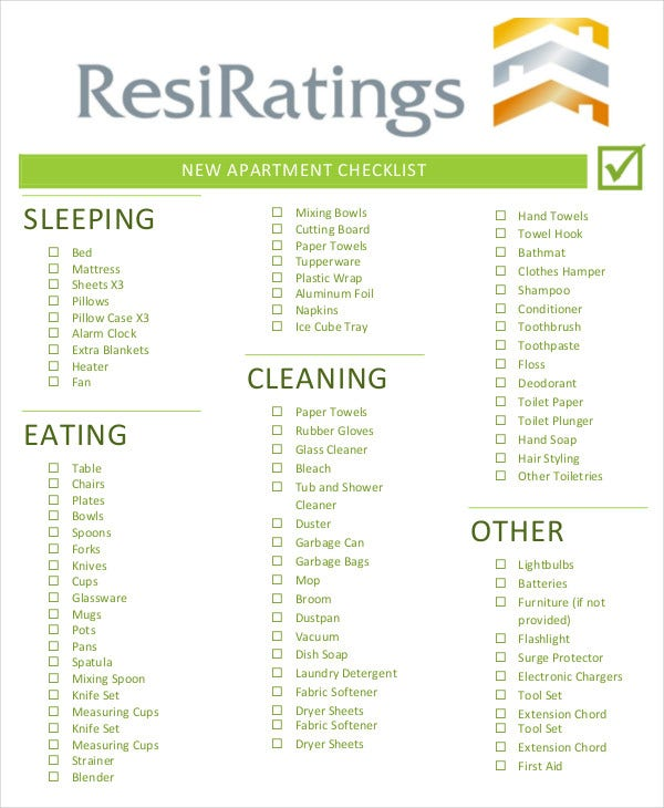 blank new apartment checklist