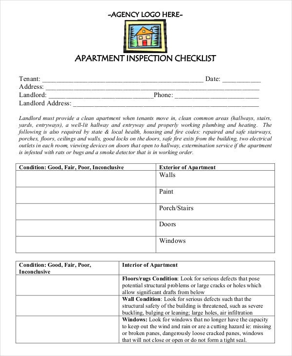 apartment maintenance checklist template New Apartment Checklist - 9  Free Word, PDF Documents Download ...
