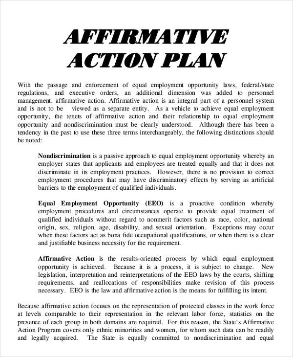 17 action plan templates free premium templates for Affirmative action policy template