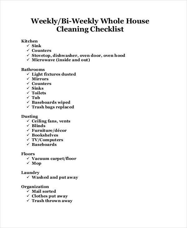 bi weekly house cleaning checklist