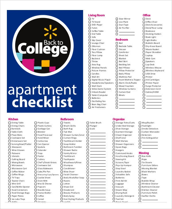 New Apartment Checklist Free Word Pdf Documents Download