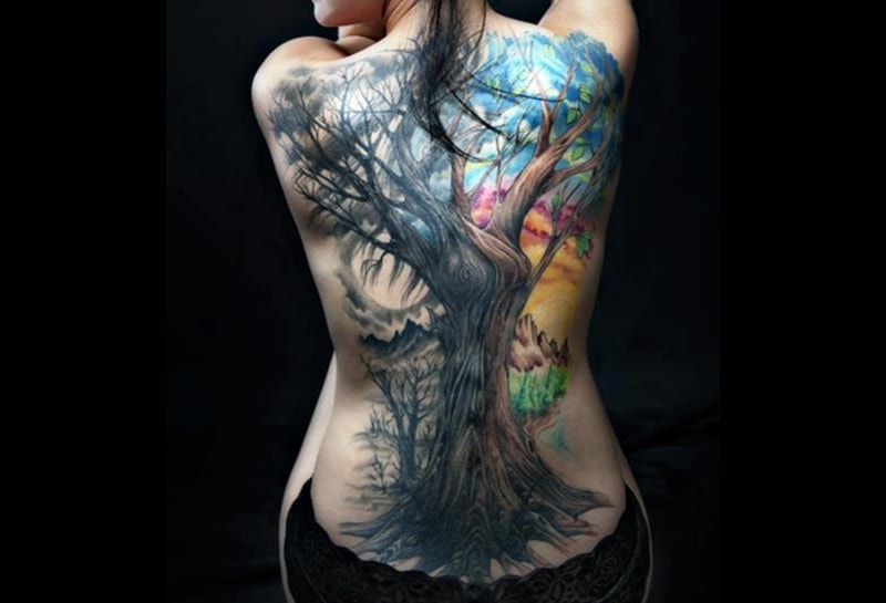 Watercolor Nature Tattoo