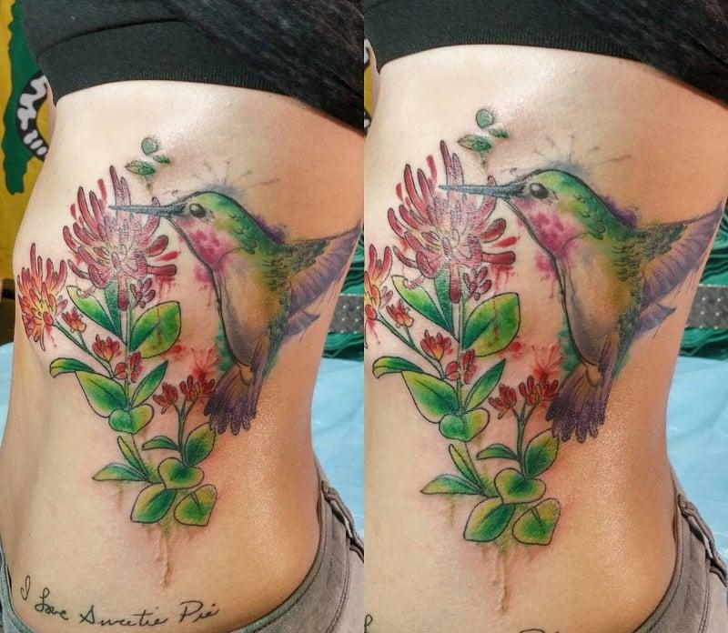 Watercolor Humming Bird Tattoo