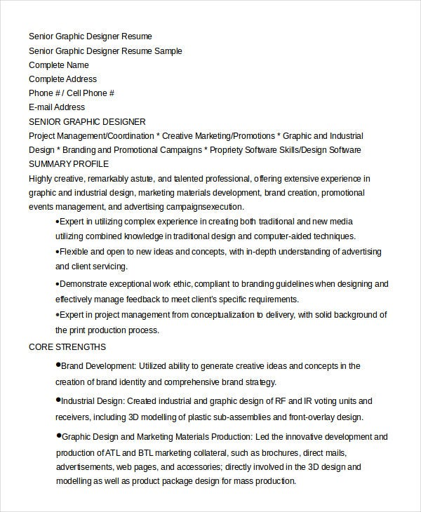 senior graphic designer resume in word - Industrial Design Engineer Sample Resume