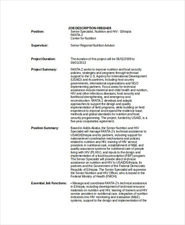 Nutritionist Job Descriptions - 9+ Free Sample, Example, Format ...