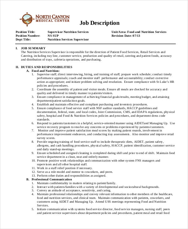 Nutritionist Job Descriptions - 9+ Free Sample, Example, Format
