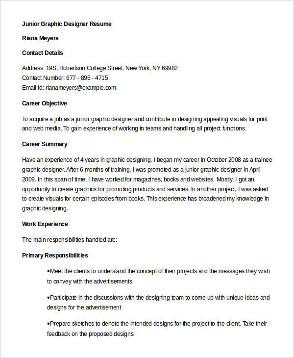 Sample Junior Graphic Designer Resume in Word
