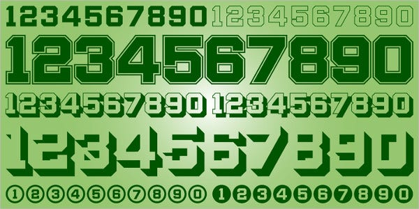 Display Digits Two Number Design Font