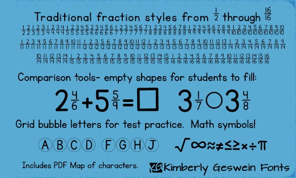 kg traditional fractions font
